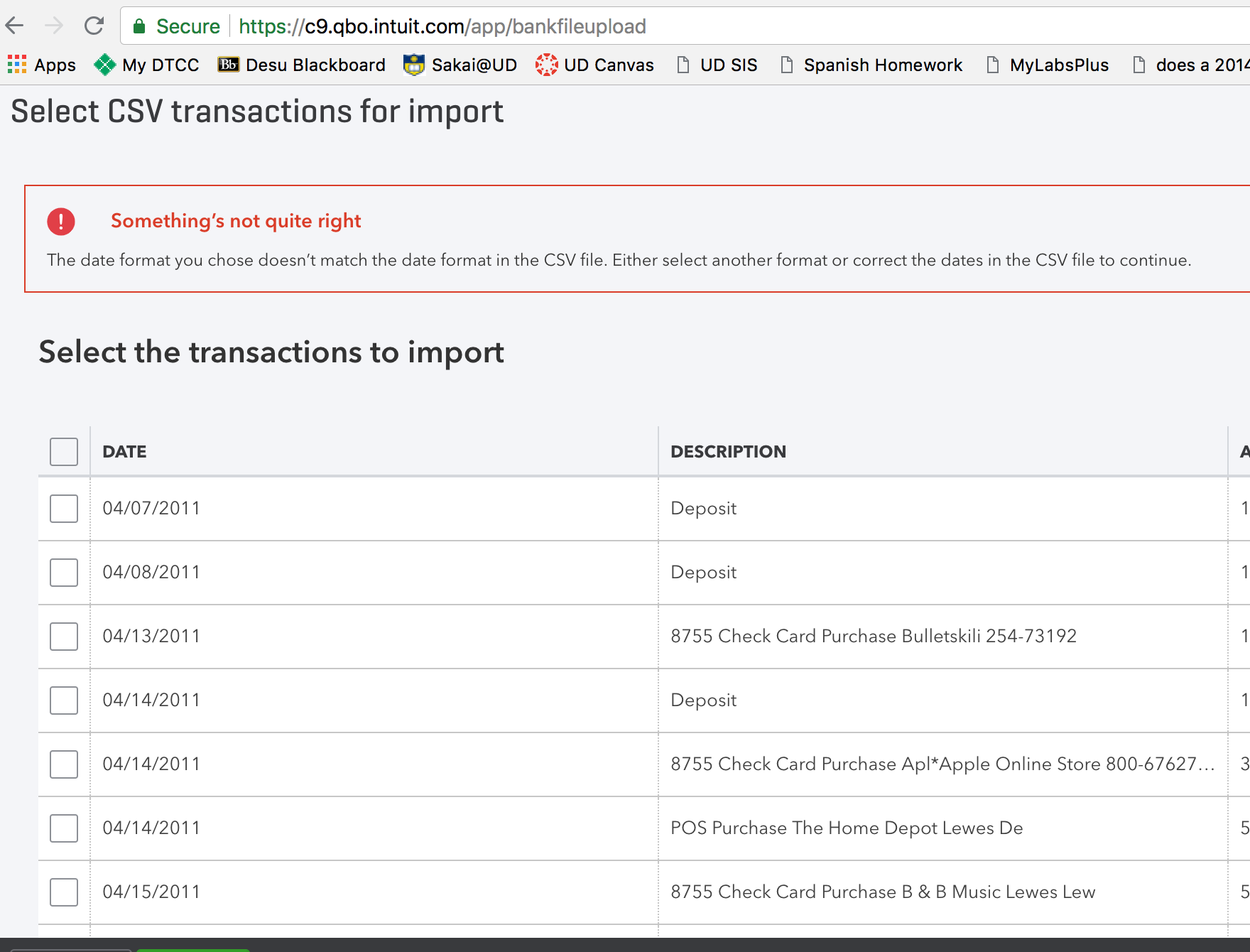 csv date format issue importing to quickbooks banking