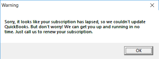 Subscription is good for another year, but get the message