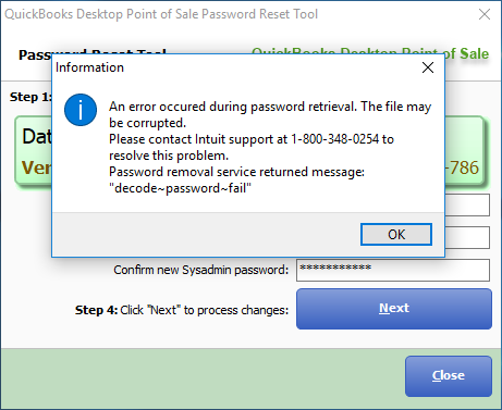 How to fix error: Password removal service returned message: