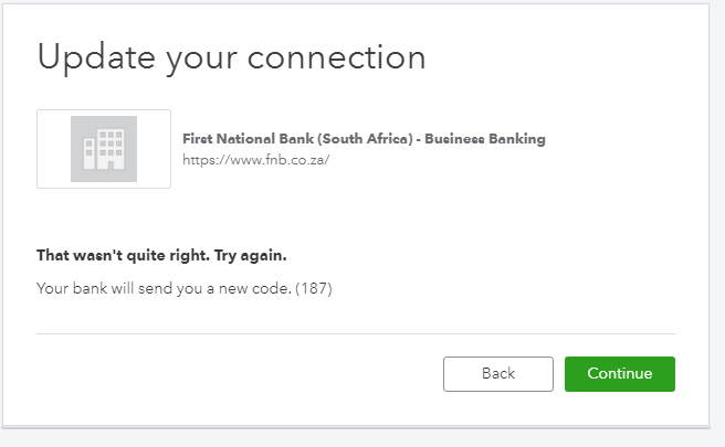I am trying to connect to FNB, but get error 187, please