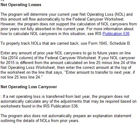 NOL schedule, by year - Accountants Community