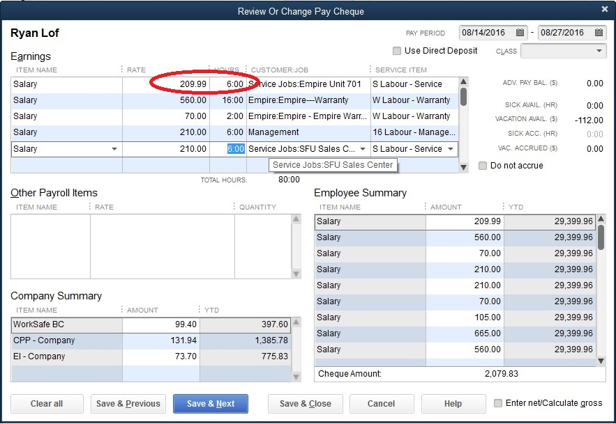 Quickbooks Calculating Salary In Payroll Is Off By  Cent