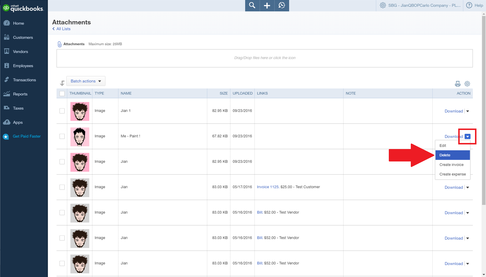 how do i delete unlinked expense attachments? - quickbooks learn, Invoice examples