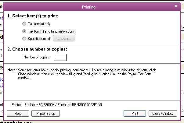 The printing option does not show up on state forms. Only shows ...