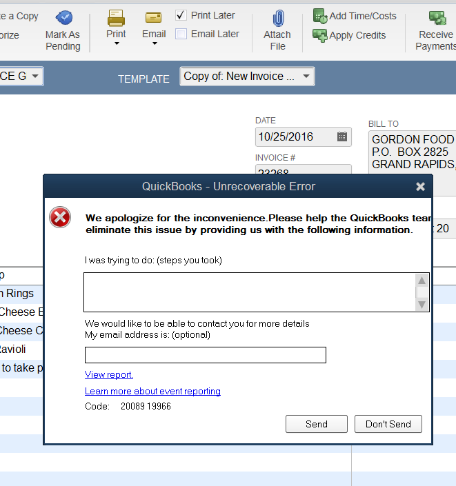 Unrecoverable Error 20089 19966 upon emailing invoices out of QB ...
