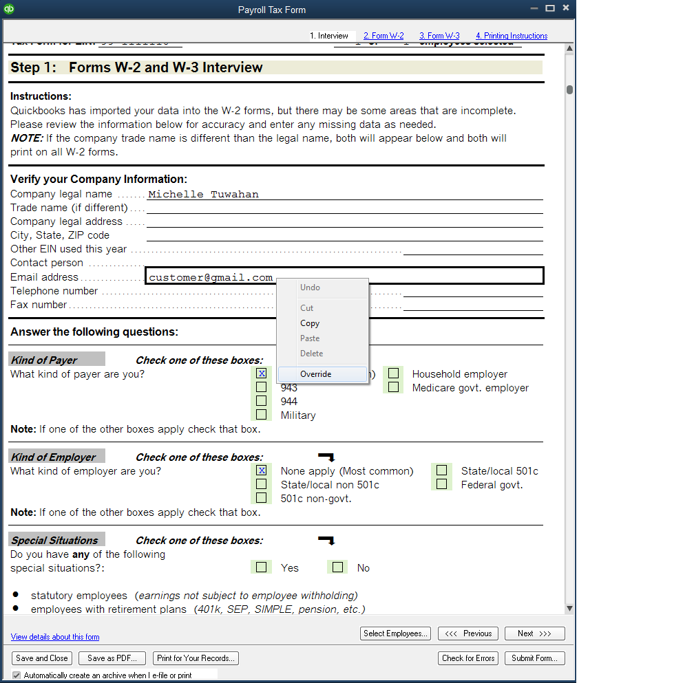 how to override the email address on Form W-3 - QuickBooks Learn ...