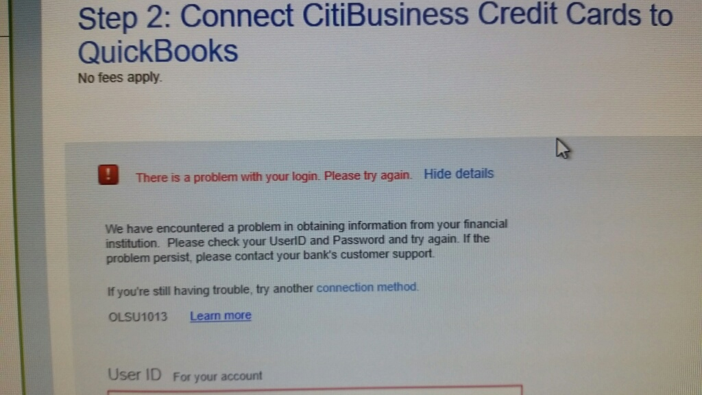 Bank feed connection error with Citibusiness credit cards. OLSU ...