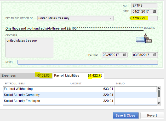 How to adjust payroll liabilities EFTPS deposit and Liability c – Eftps Worksheet
