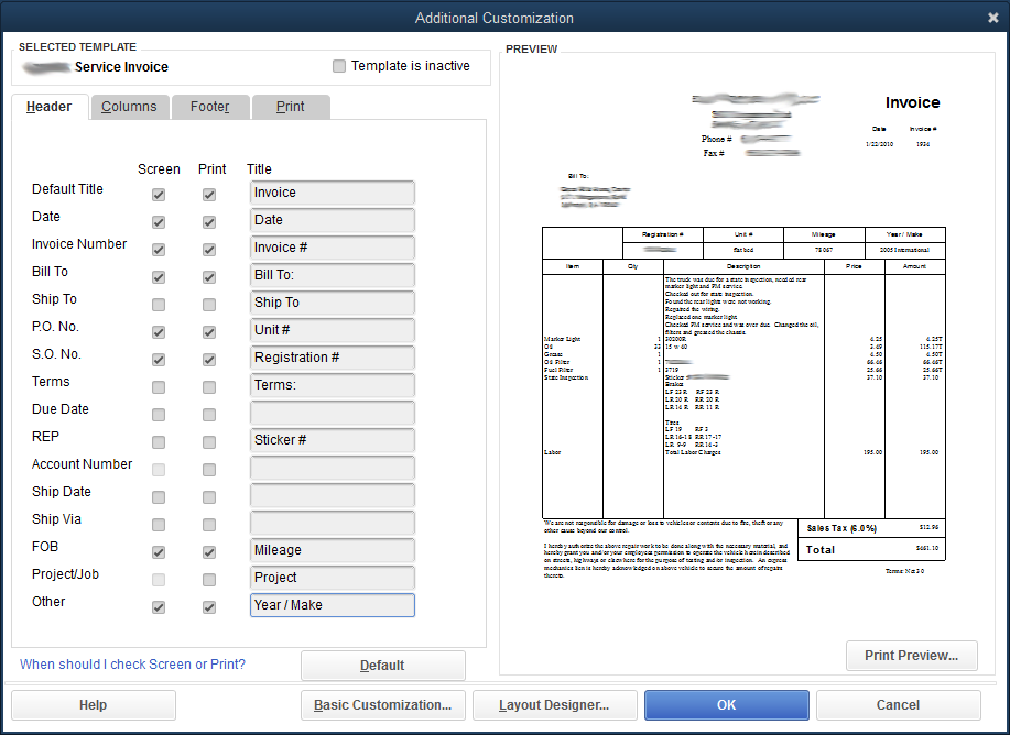 quickbooks template other headerpng - Invoice Printing