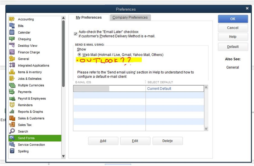 I Need To Send Invoices Through Quickbooks I Have An Option To - Quickbooks invoice email