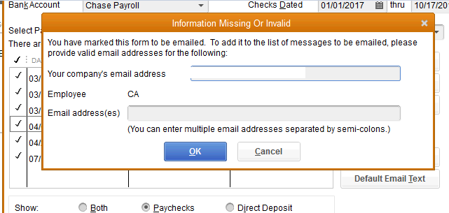 How do I send employees pay stubs via email? The request to the ...