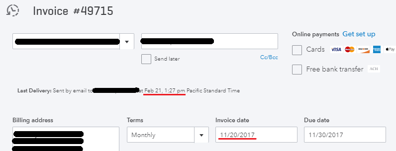 Sent Date Showing Impossible Date On Recurring Invoice QuickBooks - Quickbooks recurring invoice