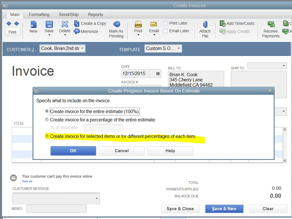 I Bill From Estimate But Track Costs On Separate Invoices - Create invoice in quickbooks online thrift store