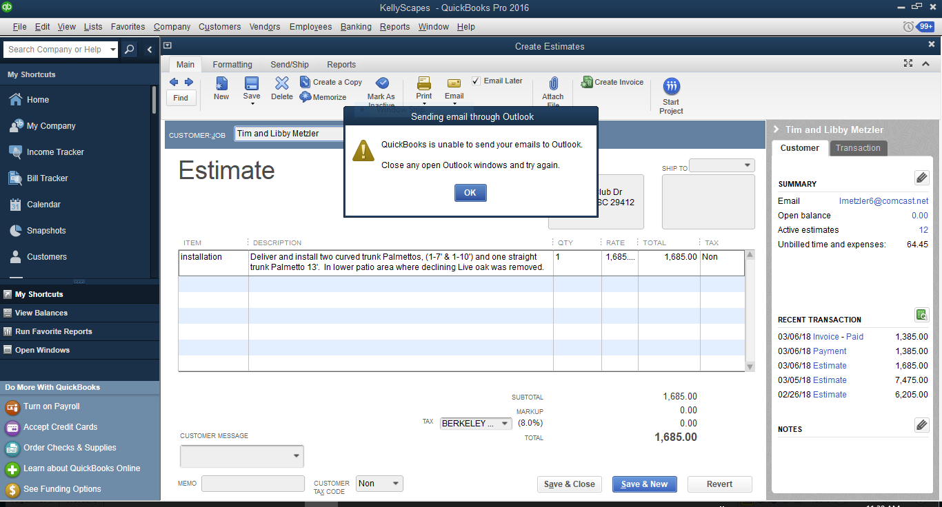 I Cannot Email Estimates Or Invoices QuickBooks Learn Support - Invoice and estimate programs