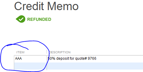 credit memo being applied against an incorrect income account